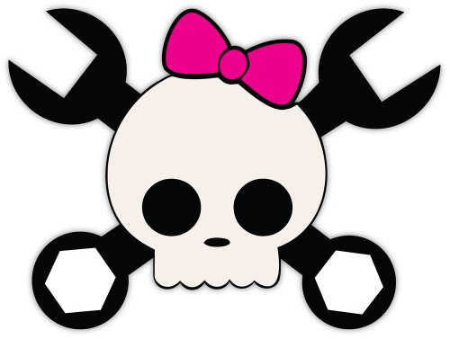 - Mechanic skull pink bow wrenches sticker decal 5