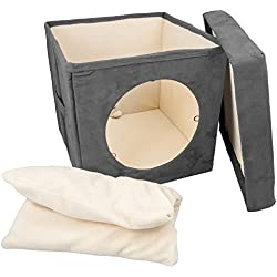 Easyology Kitty Zen Den - Comfortable Hideout For Cats - Easy To Carry And Store (Gray)