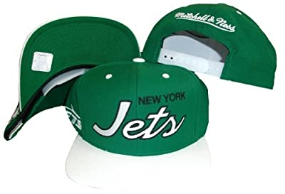 New York Jets Script Green/White Two Tone Snapback Adjustable Plastic Snap Back Hat / Cap