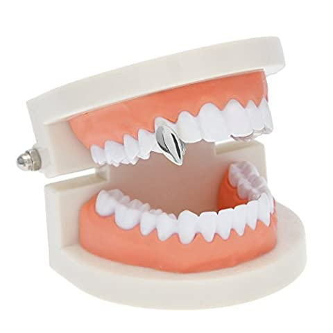 AOVR New 14k Gold Plated Hip Hop Bling Bling Teeth Vampire Fangs Grillz Caps Top & Bottom Grill Rapper Set (One (Platinum No 1)