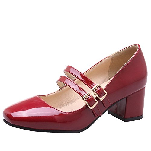 Women's Mid Simple Shoes Mee Heel Buckle Court Shoes Red 5xqSzzwEIT