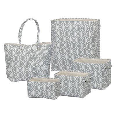 Soft Side Geometric 5 Piece Laundry Hamper Set