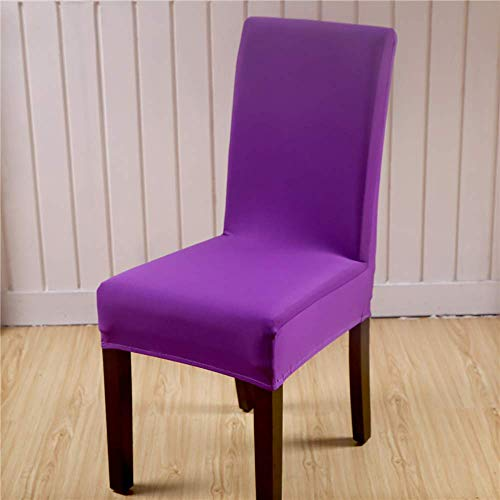 Ruili Inc Dining Room Chair Seat Covers Set of 4 Spandex Stretch Kitchen Banquet Dining Chair Slipcovers Protector for Hotel Party Removable Purple
