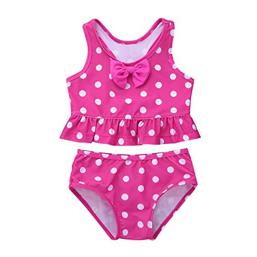 (YiZYiF Baby Girls 2-Piece Swimsuit Princess Polka Dot Ruffles Peplum Tankini Swimwear Bathing Suit Hot Pink 6-12 Months)