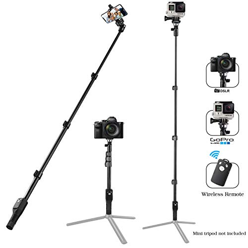 Eocean 49 Inch Selfie Stick Aluminum Selfie Stick with Wireless Remote, Selfie Stick for iPhone X/iPhone 8/Plus, Selfie Stick for Samsung Galaxy S9/S9 Plus/Moto G Plus/HUAWEI/Honor/Gopro/Camera& More