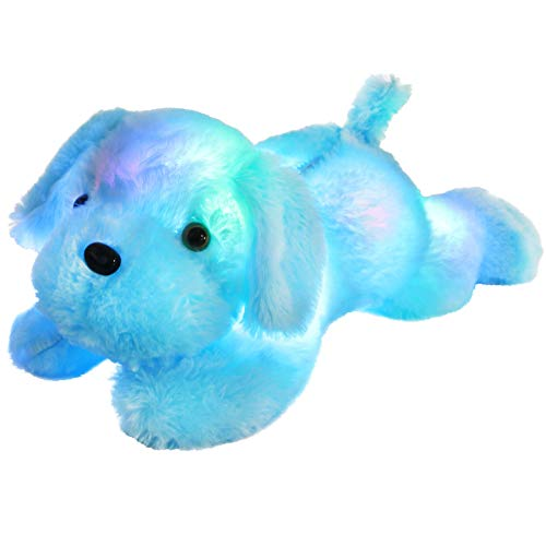 WEWILL LED Puppy Stuffed Animals Creative Night Light Lovely Dog Glow Soft Plush Toys Gifts for Kids on Easter Christmas, Birthday, 18-Inch (Blue)