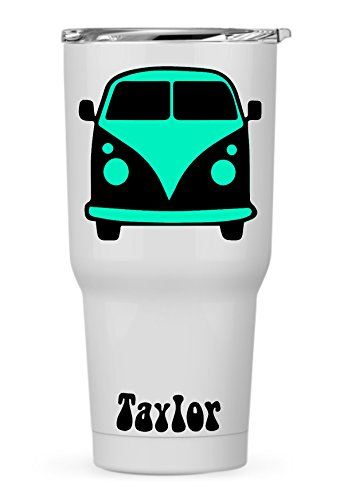 Custom Vintage VW Bus Camper with Name for Laptop Dorm Car Yeti RTIC Ozark Cooler Tumbler or ()