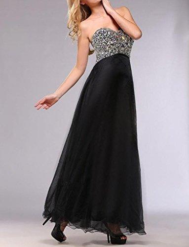 Sweetheart Dresses Line Sleeveless A Floor Women's Dearta Black Prom Length qwF8fntw6x