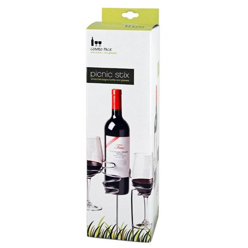 Picnic Stix Wine Glass and Bottle Holders in Stainless Steel by True
