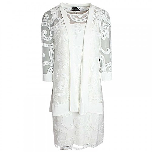 Frank Lyman Long Lace Detail Jacket 10 White