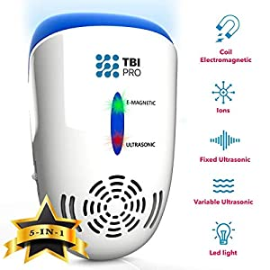 TBI Pro Ultrasonic Pest Repeller Wall Plug-in – Electromagnetic and Ionic Indoor Repellent Anti Mouse, Rats, Roach, Ants, Mosquito, Cockroach Control – Safe and Quiet Electronic Device – 2000 Sq.ft
