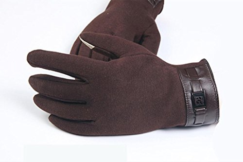 Gloves,toraway Winter Mens Full Finger Smartphone Touch Screen Cashmere Gloves (Brown) by Toraway (Image #1)