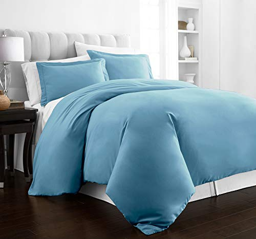 (Beckham Hotel Collection Luxury Soft Brushed 2100 Series Microfiber Duvet Cover Set - Hypoallergenic - King/California King - Sky Blue)