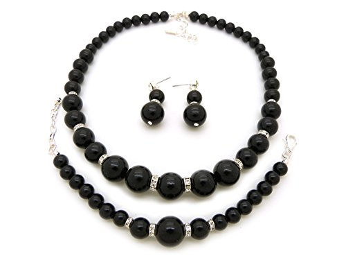 Black Earrings Costumes (Rhinestone Trimmed Simulated Pearl Necklace, Bracelet, Pierced Earring 3 Set (Black))