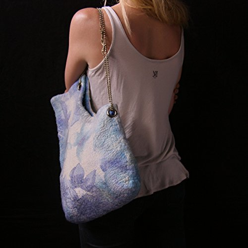 Felted Bag Designer bag Blue white Shoulder purse Felting fashion Nunofelt flower Wearable art Eco friendly Organic materials Gift ()