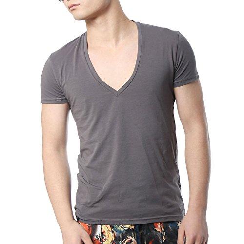 Zbrandy Men's Deep V Neck T Shirts Tight Tee Shirts Stepped Hem Colour Deep Grey Size M ()