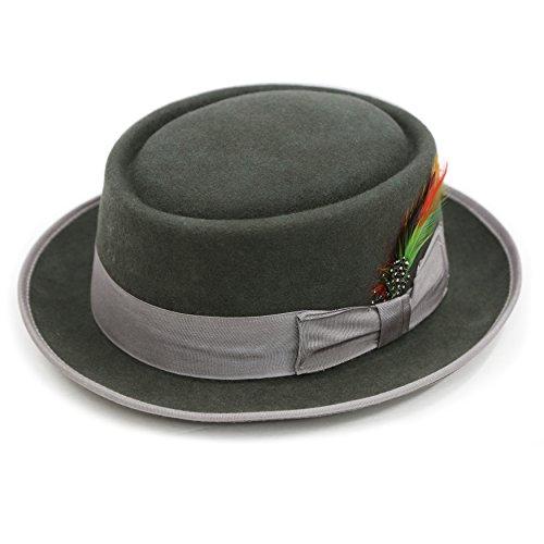 L - Ferrecci Premium Charcoal Wool PORK PIE Hat (Pork Pie Hat)