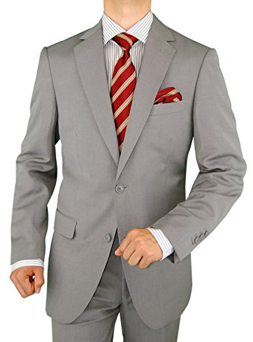 Gino Valentino Men's 2 Button Modern Jacket Flat Front Pants Faint Herringbone Suit (46 Regular US / 56R EU / W 40