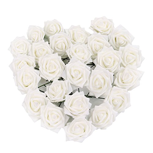 Kaimao 50pcs Artificial Rose Flowers DIY Fake Flower Bouquets for Wedding Centerpieces Party Baby Shower Garden Decorations - White (Big Lots Lawn Furniture)