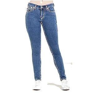 True Religion Women's Curvy Skinny Leg w/ Flap Pockets Super T Jeans in SNW CLN