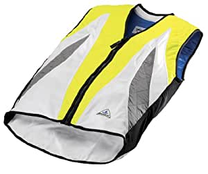 HyperKewl Evaporative Cooling VELO Cycling Vest, Hi-Viz Lime/Silver, Large
