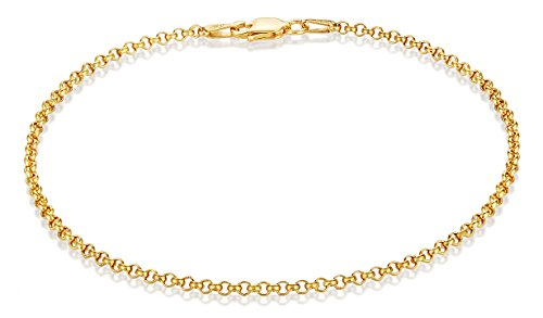 925 Sterling Silver Gold Plated 2.2mm Rolo Link Bracelet, 7