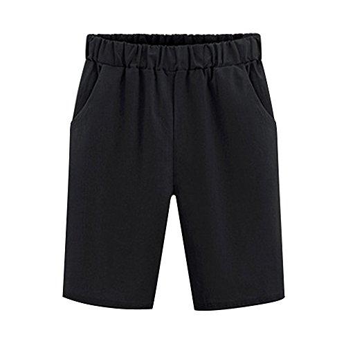 Knee Shorts Clothing Company - Sobrisah Women's Elastic Waist Casual Knee Length Bermuda Shorts Black Tag M-US 2
