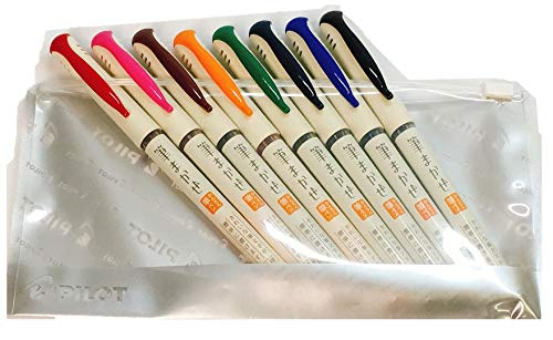 Pilot Fude Makase Color Brush Pen, 8 color (Black, Red, Orange, Blue, Blue Black, Green, Pink, Sepia) each 1 piece. with Original Case by Pilot Fude Makase (Image #2)