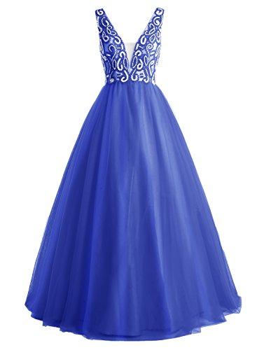 Bbonlinedress Vestido De Fiesta Largo Escote En V De Tul Con Cuentas Espalda Al Aire Zafiro Azul
