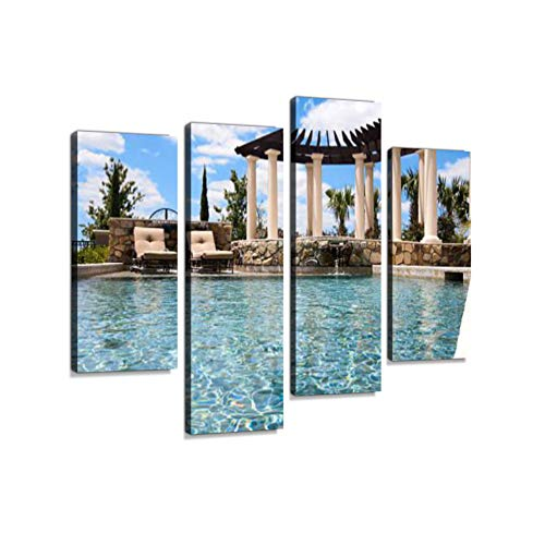 Beautiful New Pool and firepit colums gazibo Chairs Water Sky Canvas Wall Art Hanging Paintings Modern Artwork Abstract Picture Prints Home Decoration Gift Unique Designed Framed 4 Panel ()