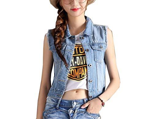 Outerwear Jean Dchir Elgante Manches Courte Manteau Fit Denim Gilet sans Jeans Vest Automne Vintage Femme Slim Dsinvolte Blau Fashion Vestes Vtements Printemps 0fTWq