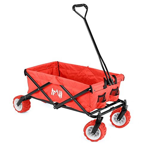 Collapsible Portable Camping Wagon Trolley Folding Wheeled Festival Carry...