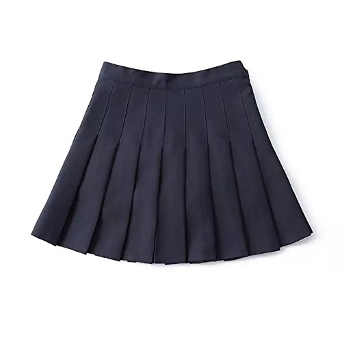 Hippolo Wschool  pli uniforme pression Jupe plisse fin mince pliss de tennis jupes Mini robe L bleu marine bleu marine