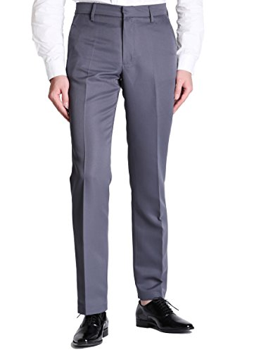 VERO VIVA Men's Solid Plain-Front Dress Pants Straight Casual Pants (42W X 30L, Grey)