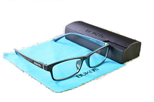 Blue Light Blocking Glasses by Bukos - Unisex - Men or Women - FDA Approved - Custom Black / Blue Color! - Reduce Eyestrain / Headaches - Computer / Gaming - Sunglasses Reduce Strain Can Eye
