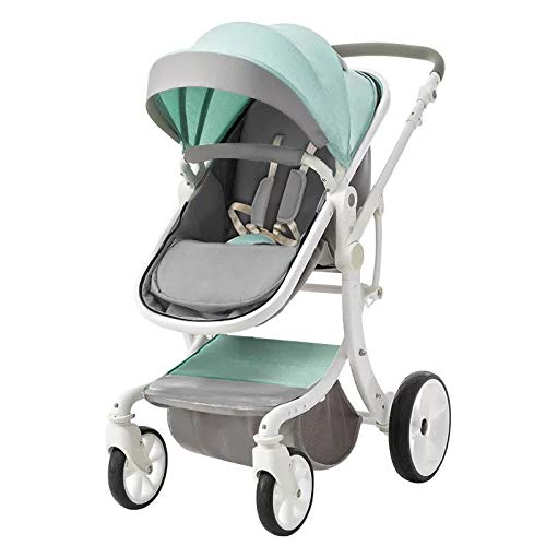 RENYAYA Stroller Lightweight Pushchair Compact Buggy Two-Way Implementation of Baby Carriage Foldable Suitable for 0-3 Years Old,Green
