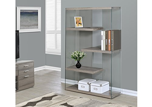 UPC 878218000972, Monarch Specialties I 3052 Dark Taupe with Tempered Glass Bookcase, 60""