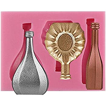 MINIATURE 3D CHAMPAGNE BOTTLE SILICONE MOULD FOR CAKE TOPPERS CHOCOLATE CLAY ETC