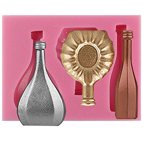 Chocolate Sweet Champagne - Funshowcase Mini Wine Bottles Silicone Mold for Sugarcraft Fondant Cake Cupcake Topper Polymer Clay Crafting Projects