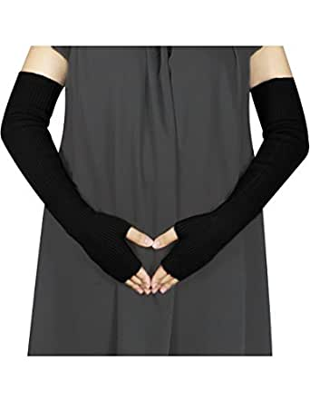 Women's Simple Solid Color Fingerless Ribbed Long Arm Warmer - Black