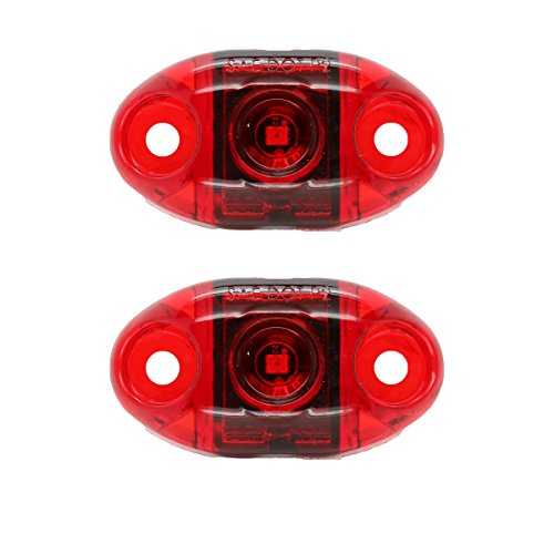 (Pair of LED Red Oval Surface Mount Clearance Side Marker Light - USA Made with Lifetime Warranty, PC Rated (Two Lights))