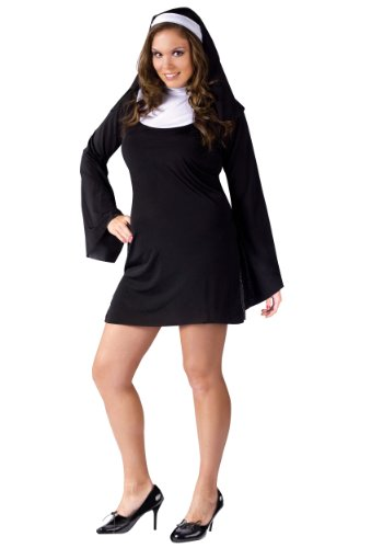 Fun World Plus-Size Naughty Nun, Black, 16W-24W (20 Themed Costumes)