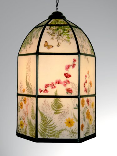 Bring a Sunny Summer Garden Indoors with This Unique Hanging Lamp - Pressed Flowers: Cosmos, Caesalpinia, Penta, Ferns and Leaves ()