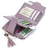MuLier Women's Mini Soft Leather Bifold Wallet With ID Window Card Sleeve Coin