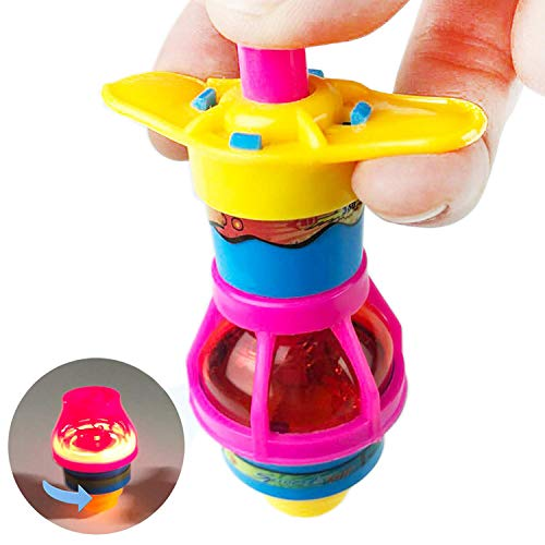 Huji Toy LED Light Up Flashing Gyroscope Spinning Top Toys Novelty Party Favors (24 Pack)]()