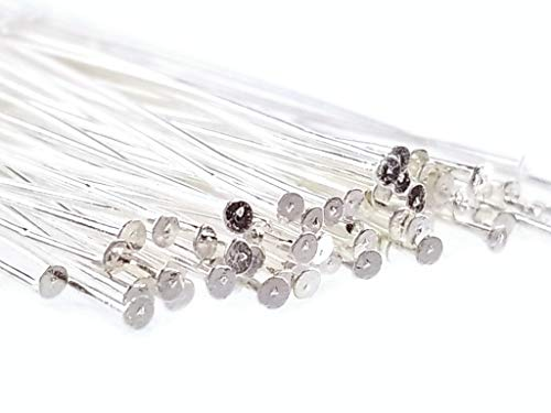 (Silver Plated Flat Extra Long Head Pins for Jewelry Making, Earrings- Nickel Free (70mm x 21 Gauge) 3 Inch)