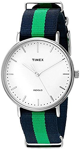 Timex Unisex TW2P90800 Fairfield 41 Blue/Green Nylon Slip-Thru Strap Watch from Timex