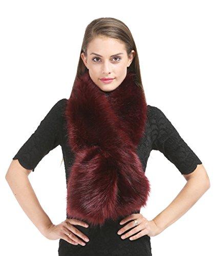(Saferin Women's Wrap Stole Scarves Faux Fur Collar For Winter Coat(FOX-Burgundy))