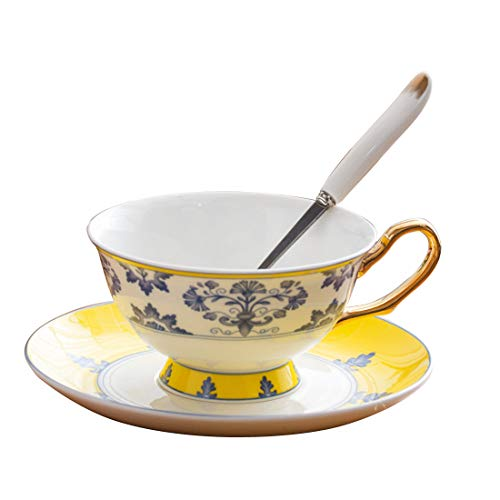 Cool Lemon European Style Luxury Golden Line Handle Porcelain Ceramic Bone China Coffee Tea Cups Mugs with Saucer Spoon Set for Home Office Tea Party, 300ml/10oz (Yellow)