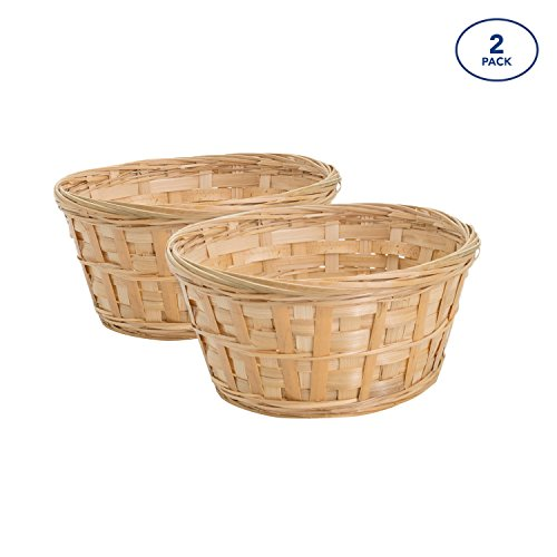 Royal Imports 8'' Round Natural Bamboo Handwoven Bread Basket 4''x8'' Braided Rim, Pack of 2 by Royal Imports